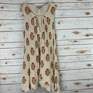 Lucky Brand sleeveless dress large beige floral